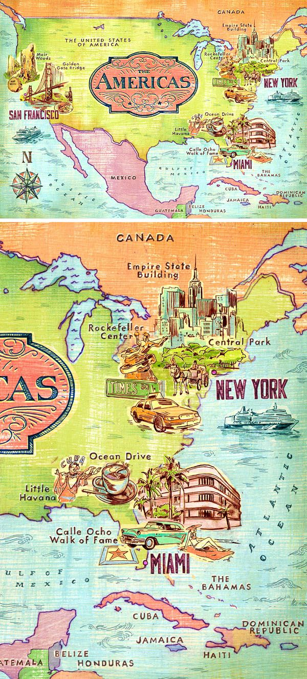 Illustrated Map of America - by Jacqui Oakley Illustration ...