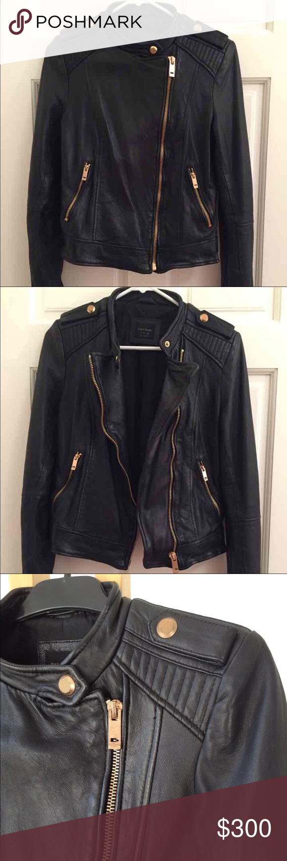 Zara leather jacket 100 real leather with gold hardware