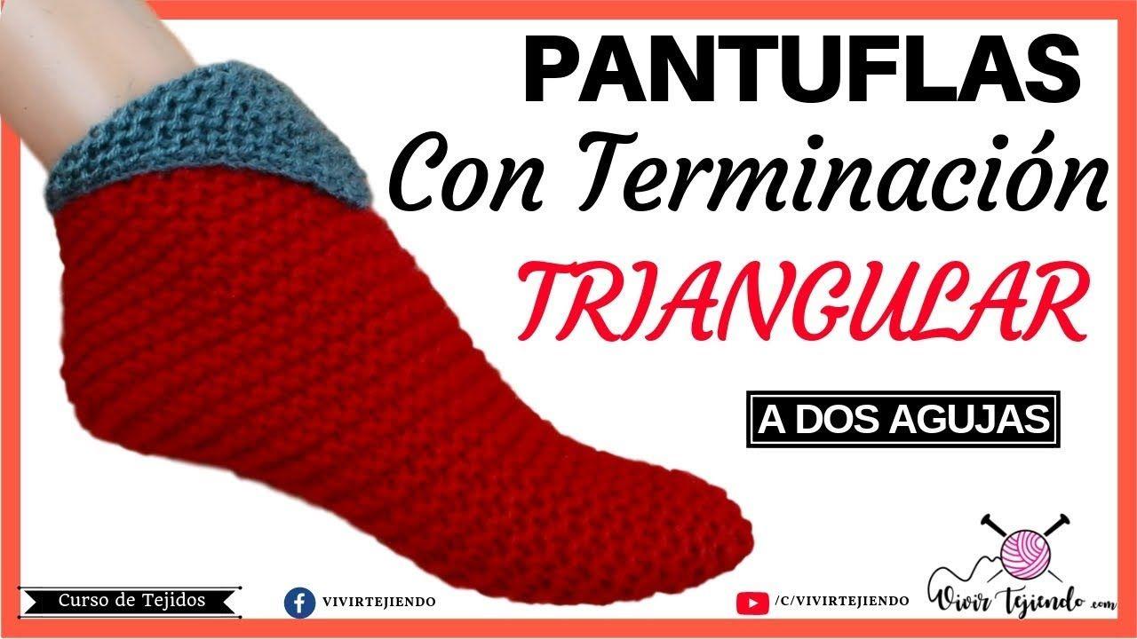 Pantuflas Y Babuchas Triangular A Dos Agujas Tejiendo Pantuflas Paso A Pantuflas Pantuflas De Ganchillo Como Tejer Pantuflas
