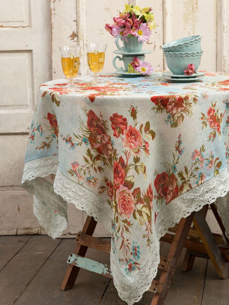 Get Your April Cornell Heirloom Rose Linen In Blue Table Cloth From  Elizabethu0027s Embellishments, One Of Our Many Table Cloths And Table Linens  For The Home.