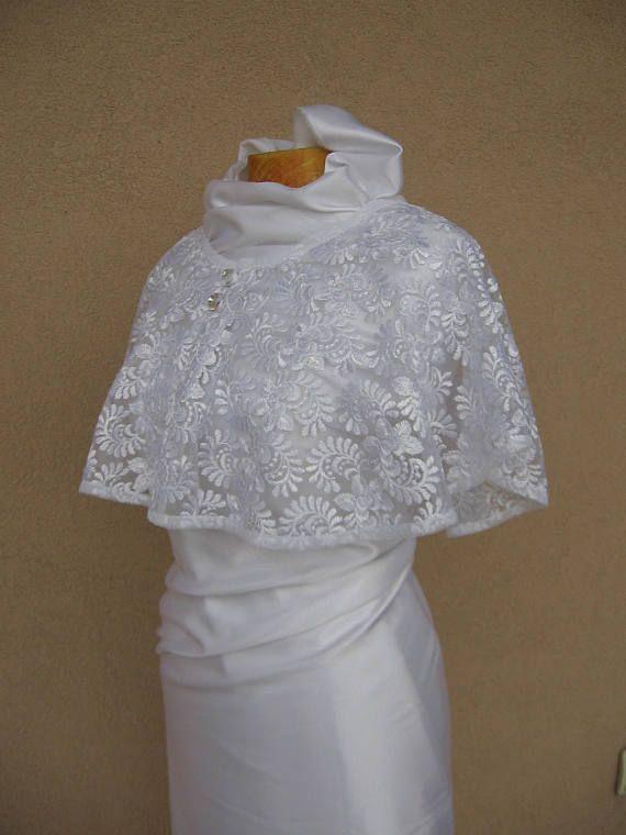 White Wedding Cape Bridal Cape  Lace Wedding Wrap Bridal