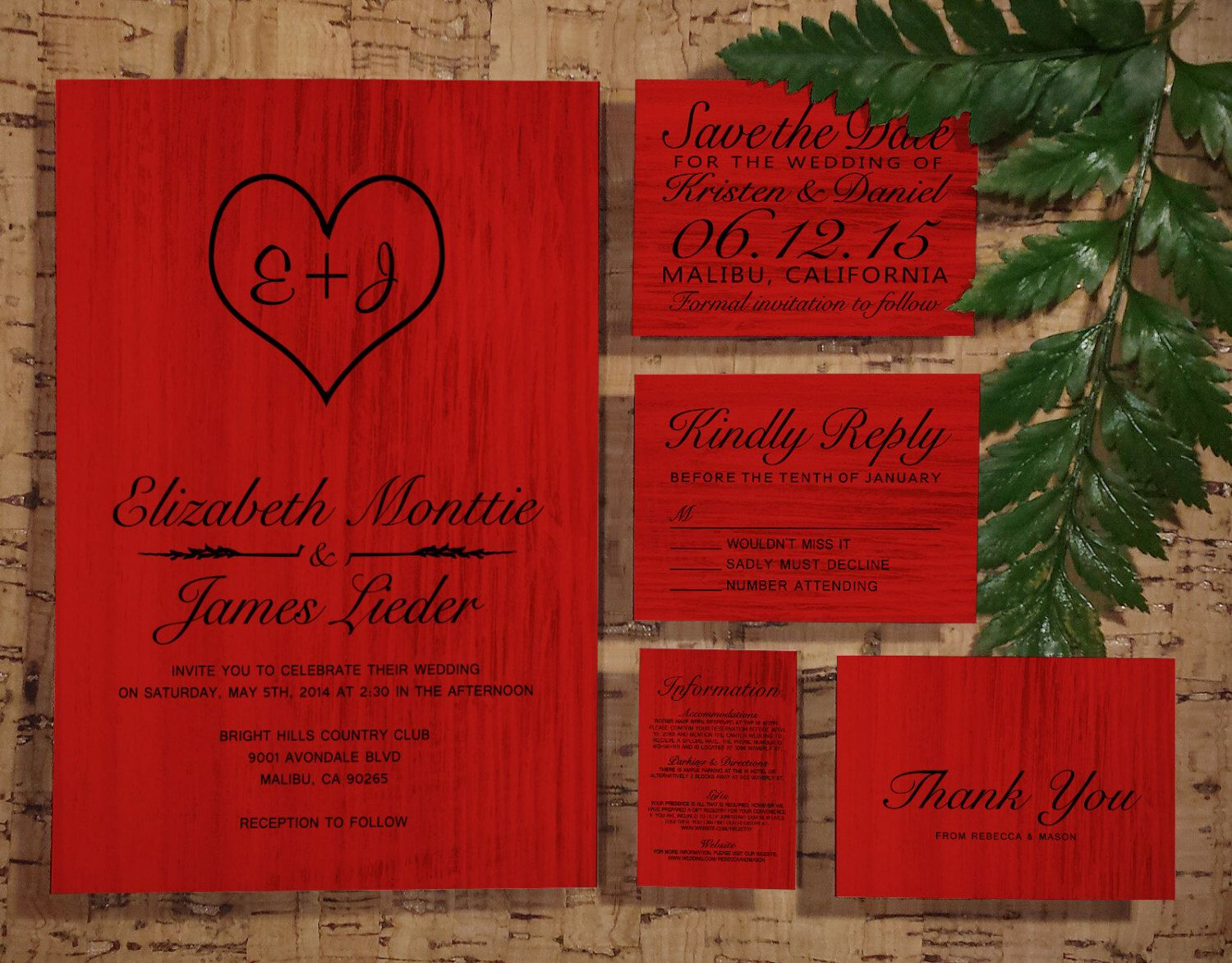 Red & Black Country Wedding Invitation Set/Suite, Invites, Save the ...