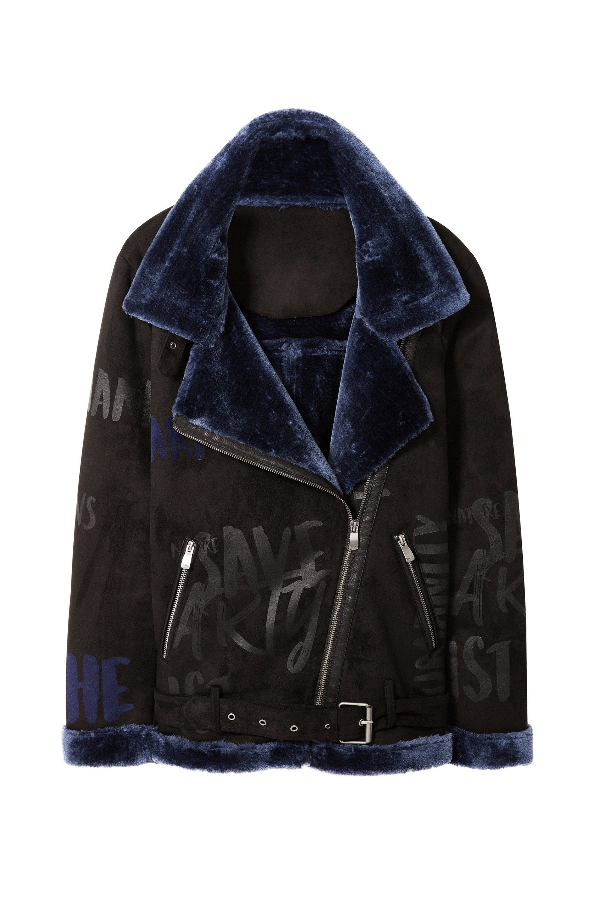 Desigual TAMPA jacket. Faux leather and soft blue faux fur