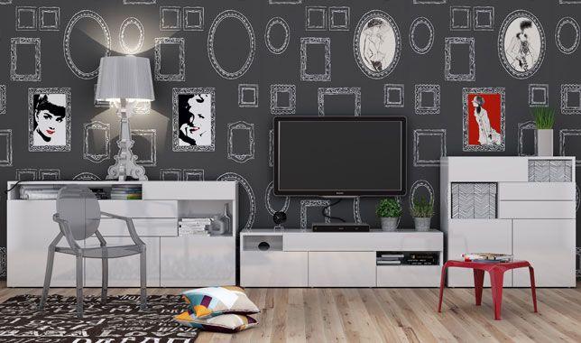 Séjour design blanc brillant GALLERIA    wwwbasikafr meuble