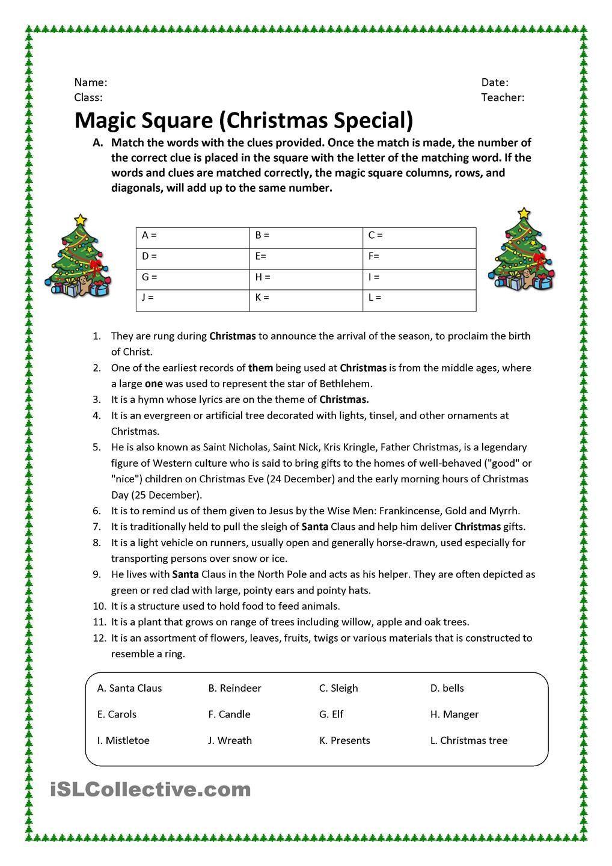 3rd Grade Christmas Worksheets Learning Worksheets Grammar Worksheets Magic Squares