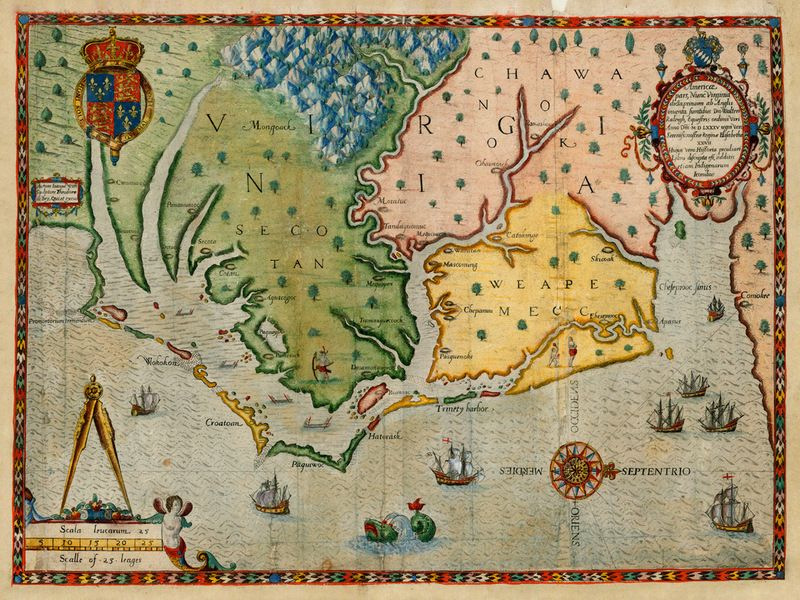 Antique Map Of The Virginia Colony In 1585 By John White And Theodor