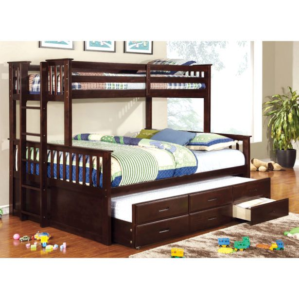 Bedroom Triple White Bunk Bed Twin Over Full Top Only