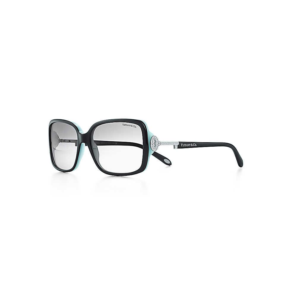 71fcf70fd0b6 Tiffany Keys rectangular sunglasses in black acetate with silver-colored  keys.