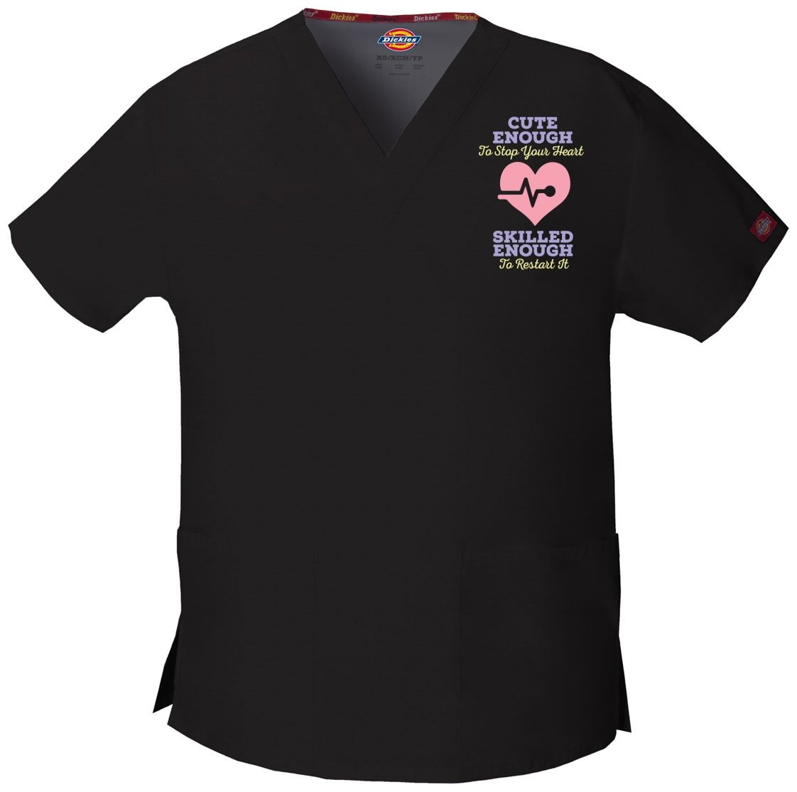 Cute Enough To Stop Your Heart - Nurse - Embroidered Scrub / Embroidered  Medical Srcubs Tops