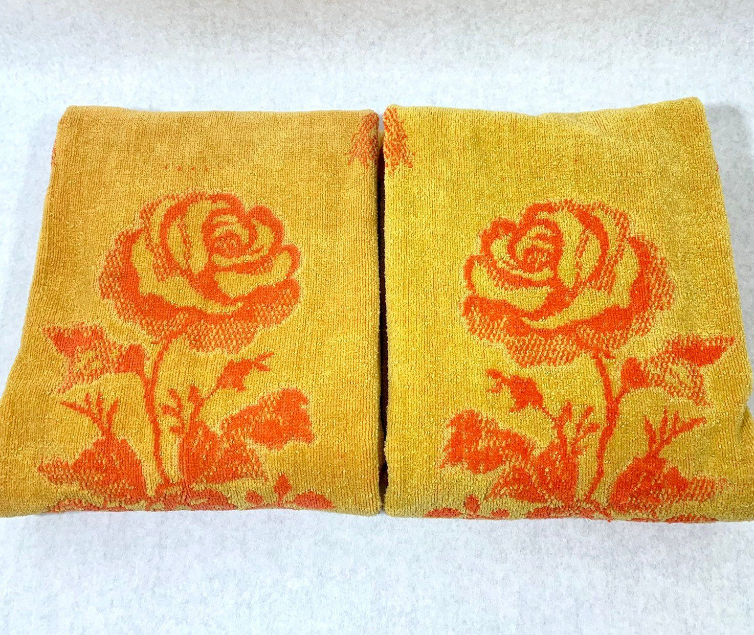 Floral Bath Towels Orange Gold Terry Cloth Velour Fringed Towel