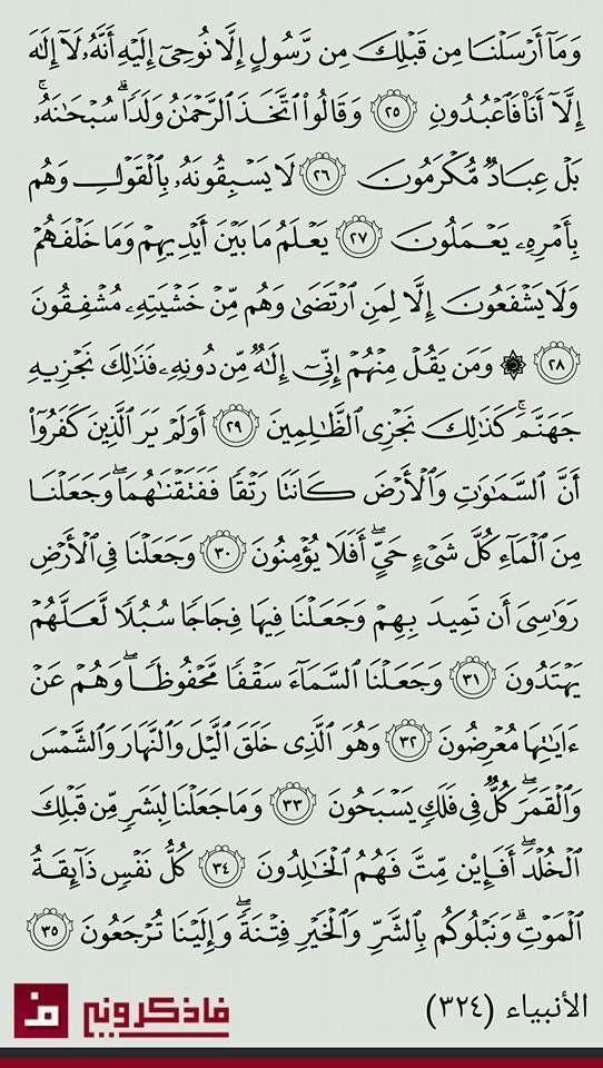 ٢٥ ٣٥ الأنبياء Quran Book Holy Quran Book Noble Quran