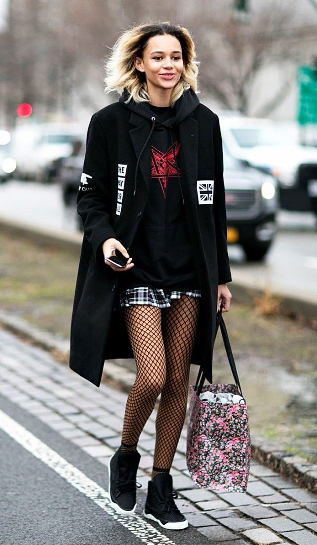 Image result for fishnet trend street style fall 2017