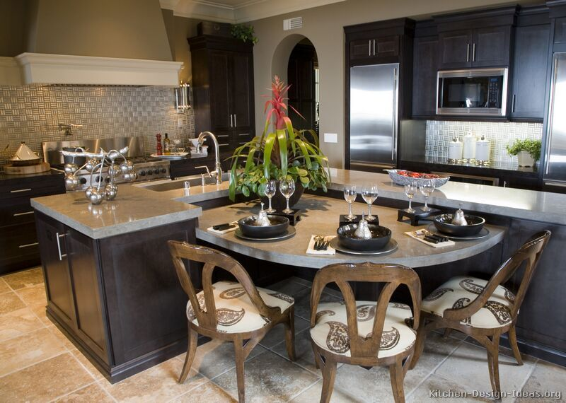 A Transitional Luxury Kitchen With Espresso Shaker Cabinets Curved Kitchen Island Kitchen Design Small Curved Kitchen