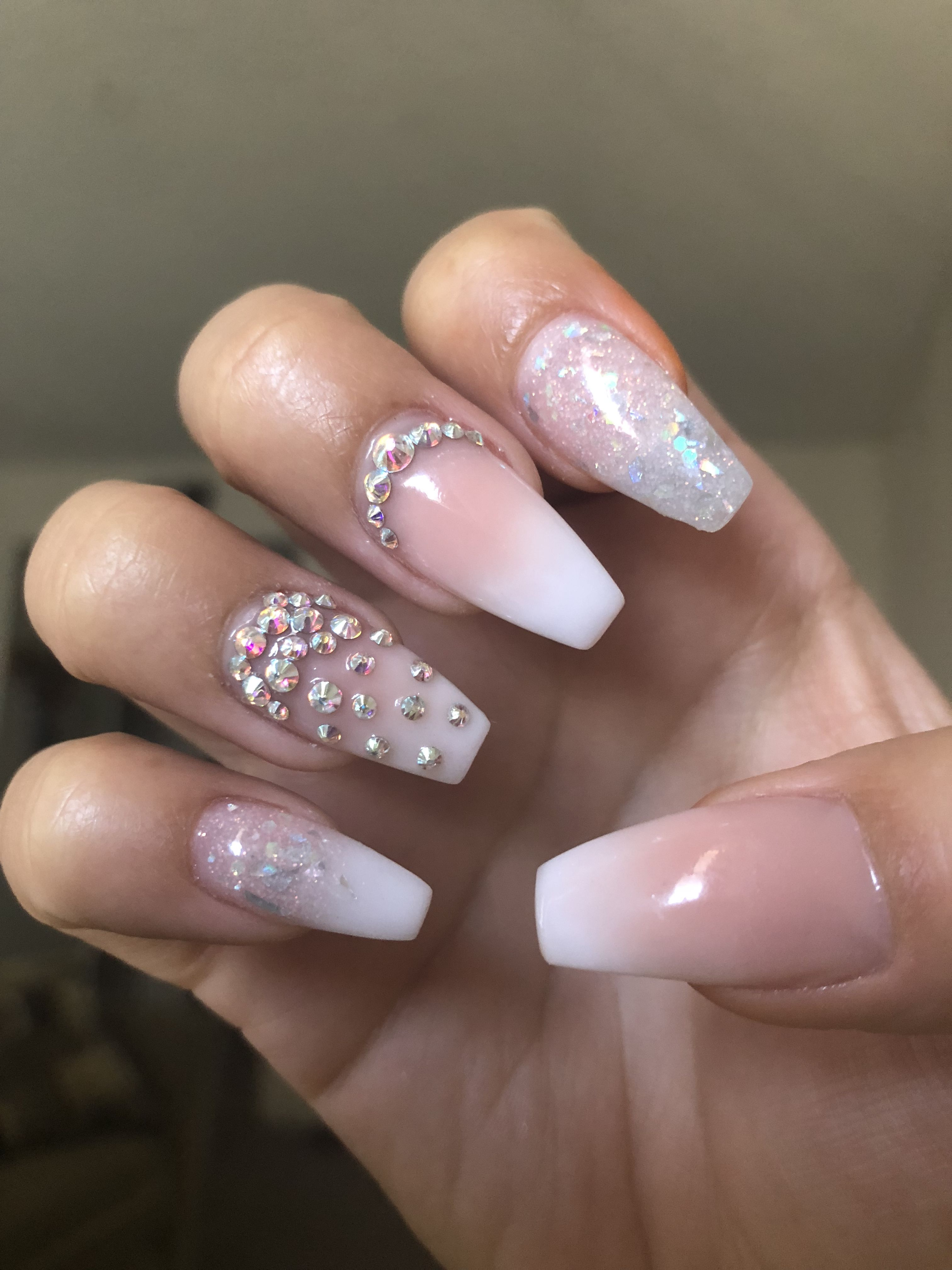 French Ombre Coffin Shaped Nails With Rhinestone Glitter Coffin Shape Nails Ombre Nails Glitter Rhinestone Nails