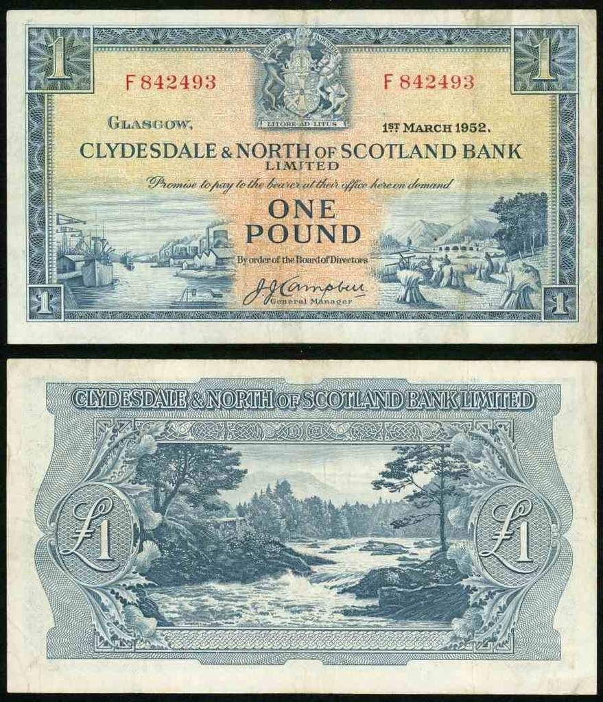 1952 One Pound Sterling Banknote Clydesdale North Of Scotland Bank Pick Number 191 Beautiful Choice Very Fine Currency Note Bank Notes Currency Note Currency Design