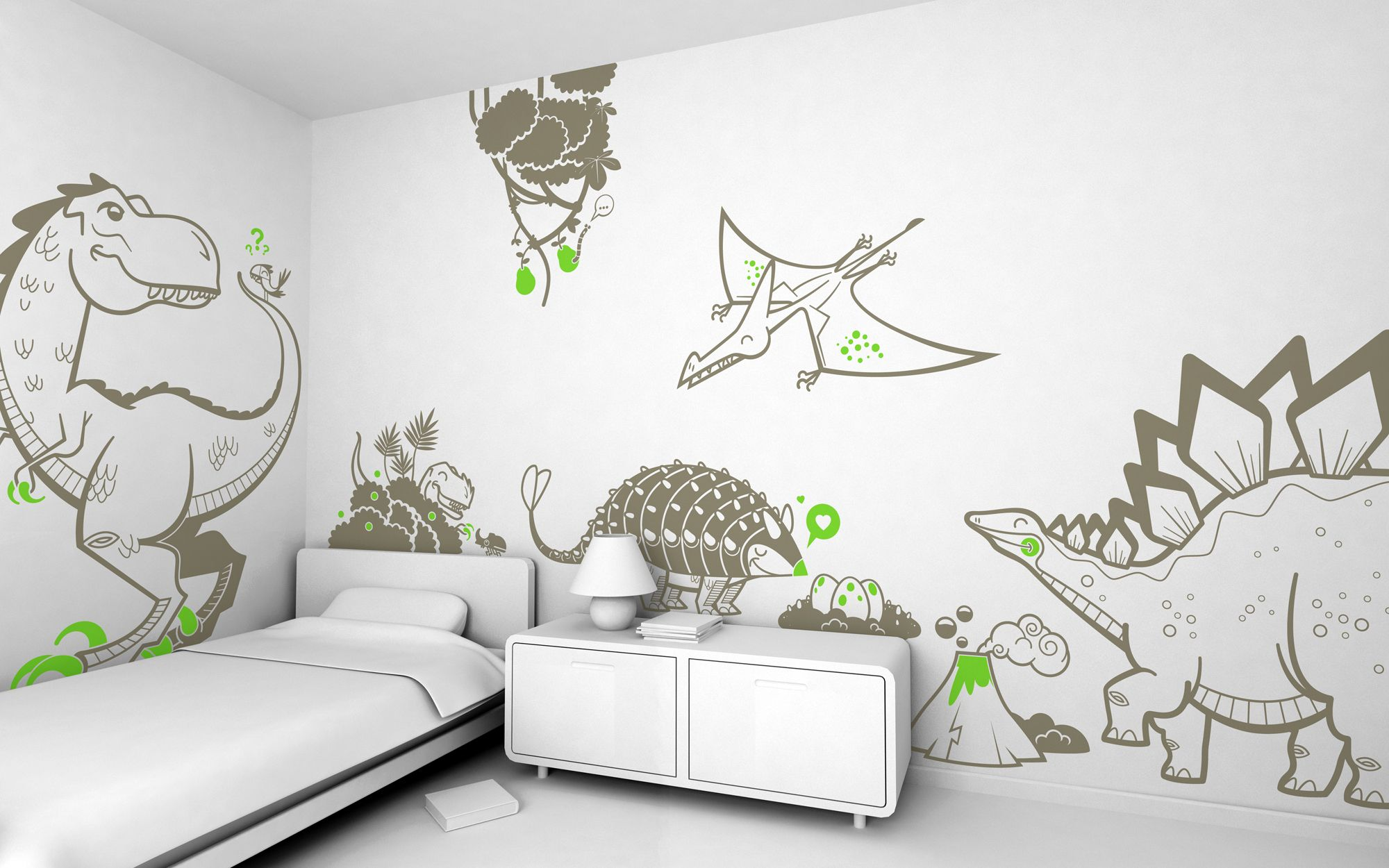 Good Dinosaur Time // Pack Of 8 Kids Wall Stickers I Kids Wall Decals.
