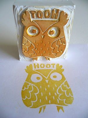 Handcarved Owl Stamps to use on paper, clay or dough to make Athenian coins.