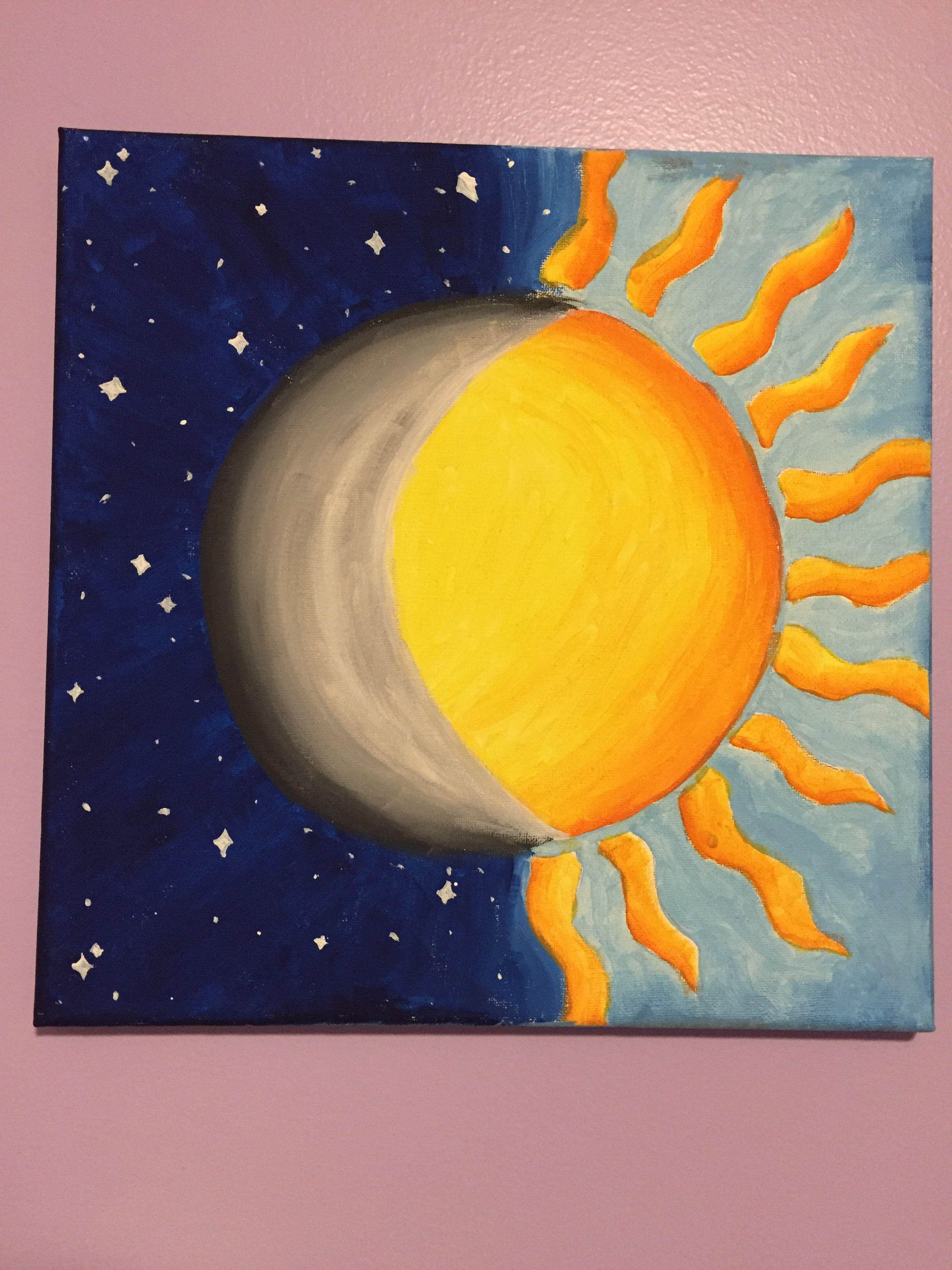 Half Sun Half Moon Painting Idea Easy Canvas Art Simple