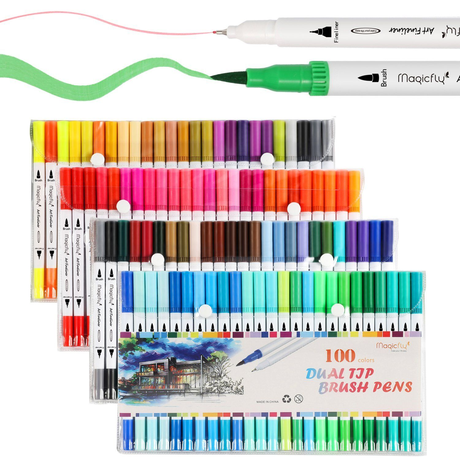Amazon Com Dual Tip Marker Pens 100 Colors Magicfly Watercolor