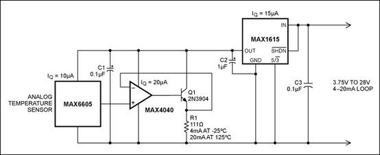 Analog temperature sensor to current loop interface