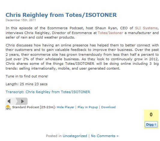 Chris Reighley from Totes/ISOTONER - Dec 2011 @SLISystems