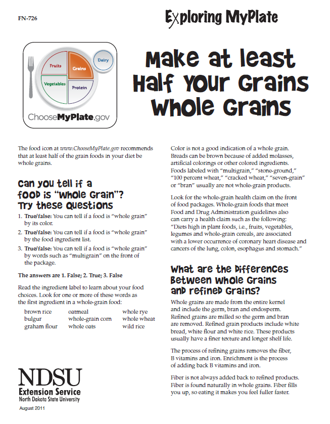 Exploring MyPlate Make at Least Half Your Grains Whole