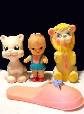 Vintage Lot 1960s Squeaky Kitty Cat Lion Girl Shoe Japan Italy