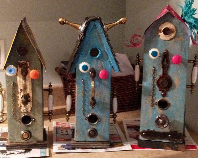 Alien Family Birdhouses by LouiseLePierres, via Flickr