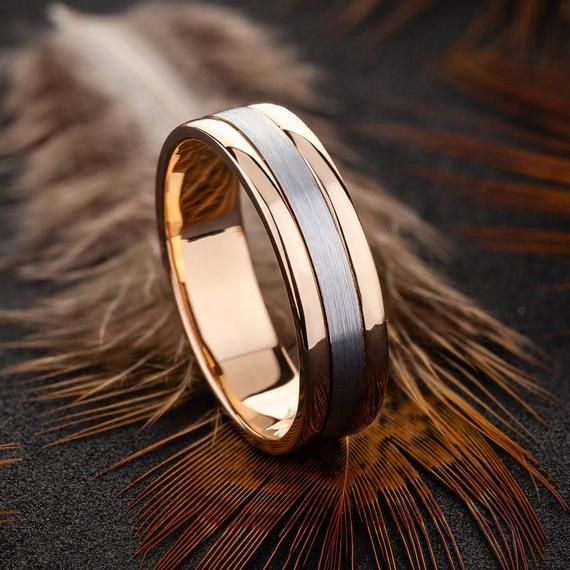 Mens Wedding Band Ring For Men Two Tone Wedding Band Wedding Ring Wedding Band Mens Wedding Band Rose Gold In 2021 Rose Gold Mens Wedding Band Mens Gold Wedding Band Rose