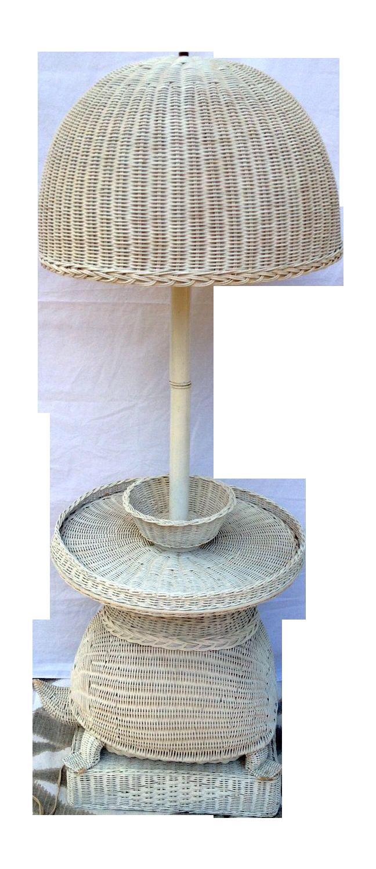 palm beach regency wicker turtle floor lamp table on chairish com
