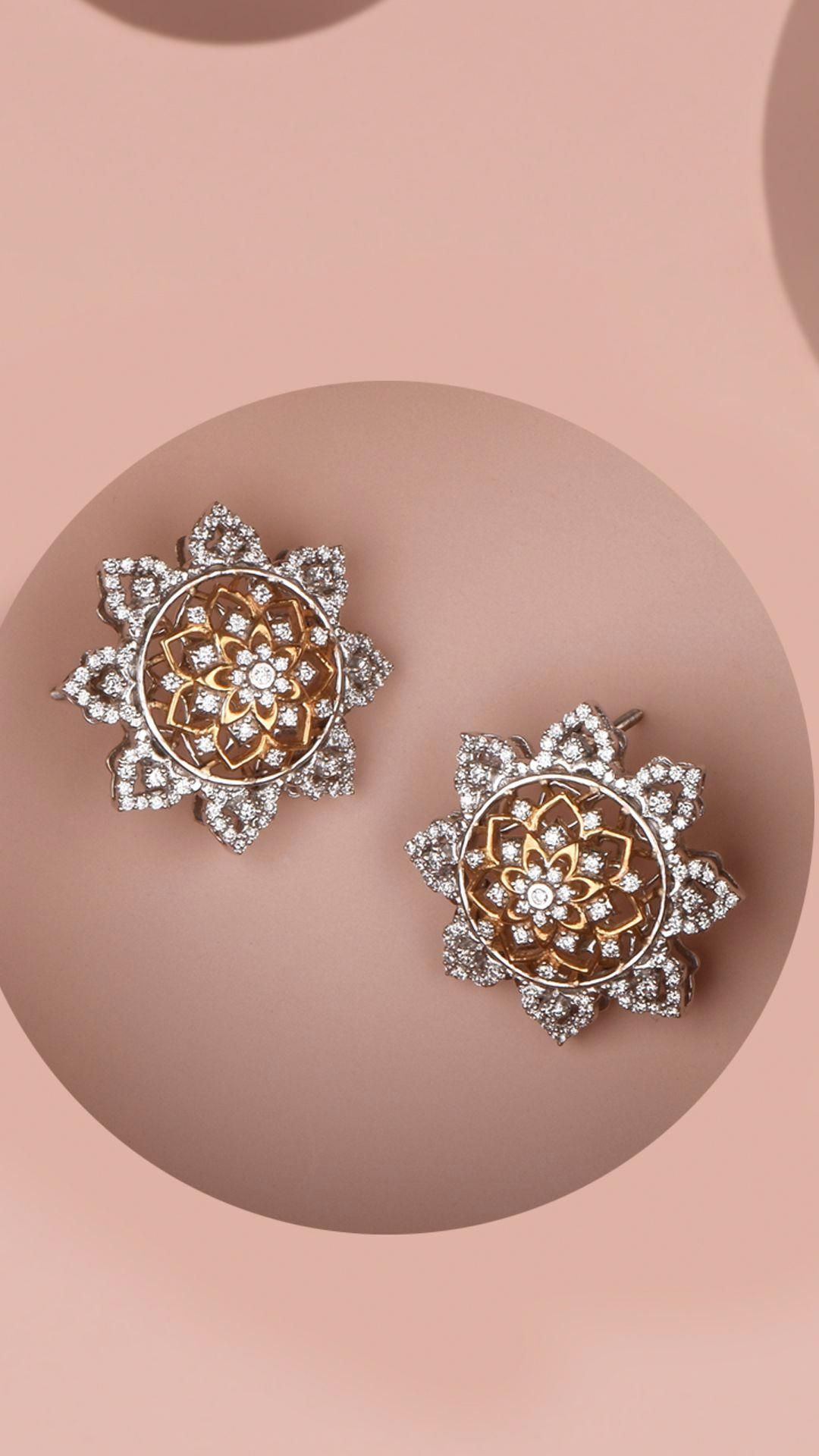 Azva floral diamond earrings in 18k gold diamondjewelry