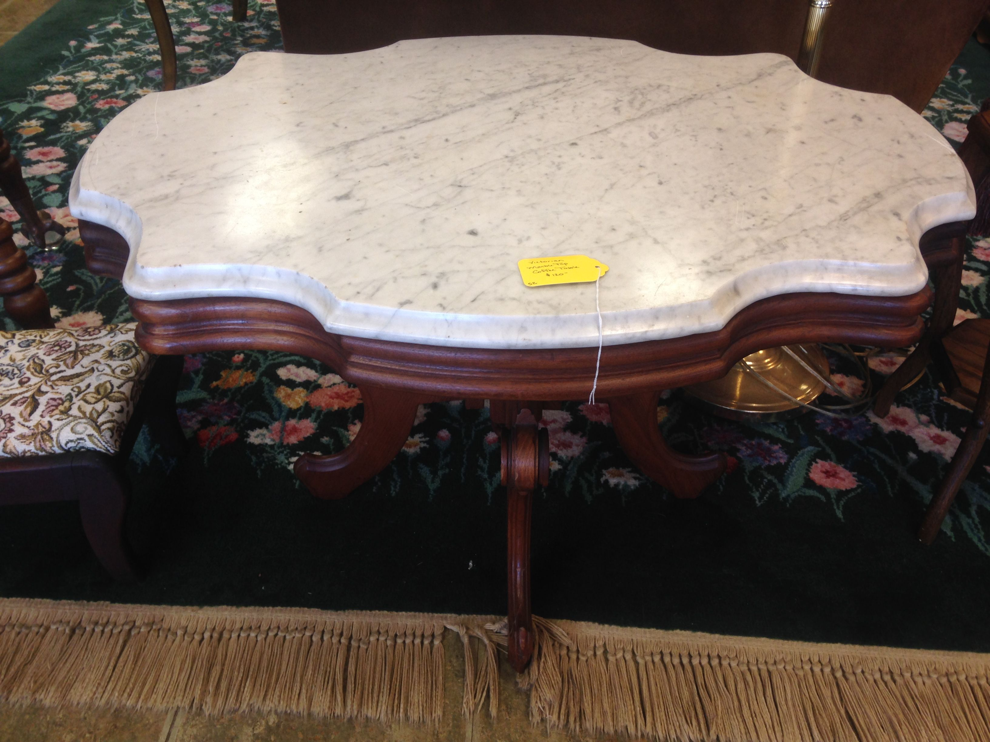 Victorian Marble Top Coffee Table $129