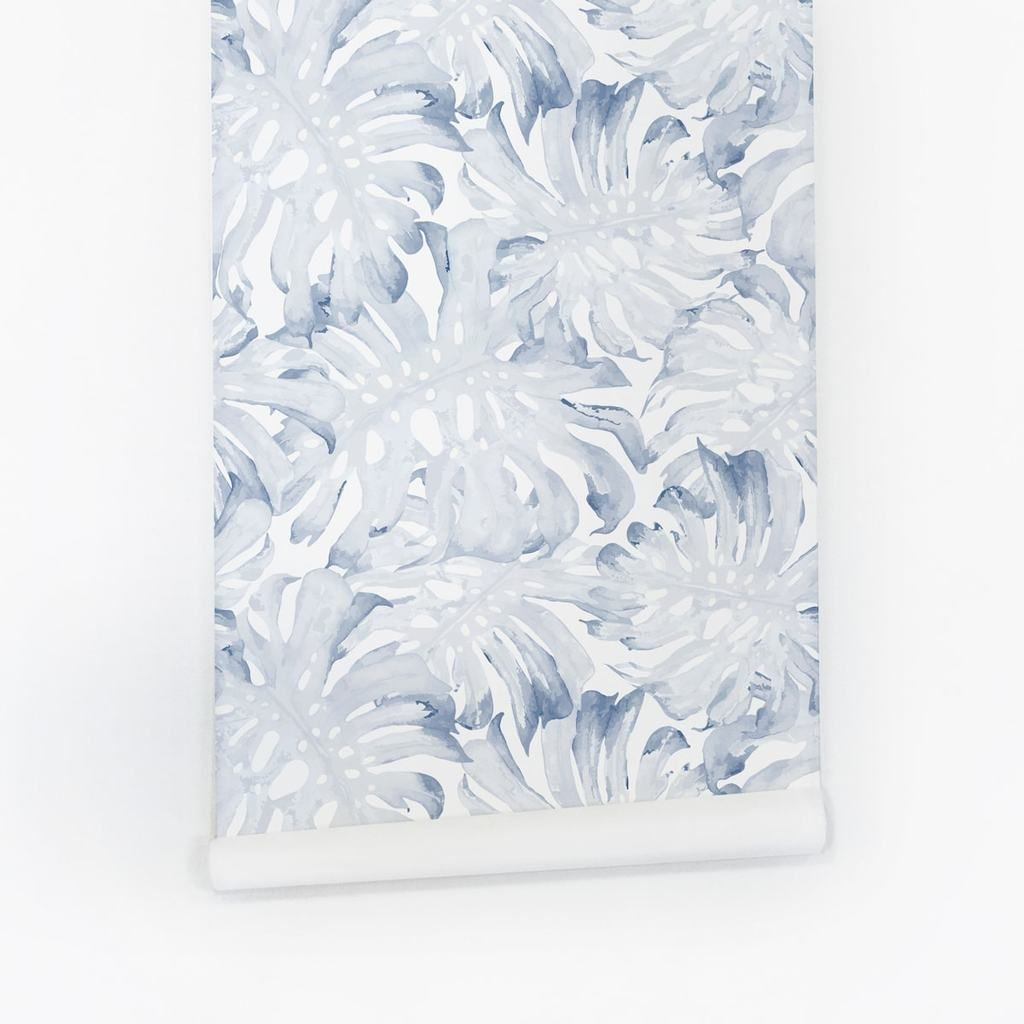 Blue palm leaf removable wallpaper Traditional wallpaper