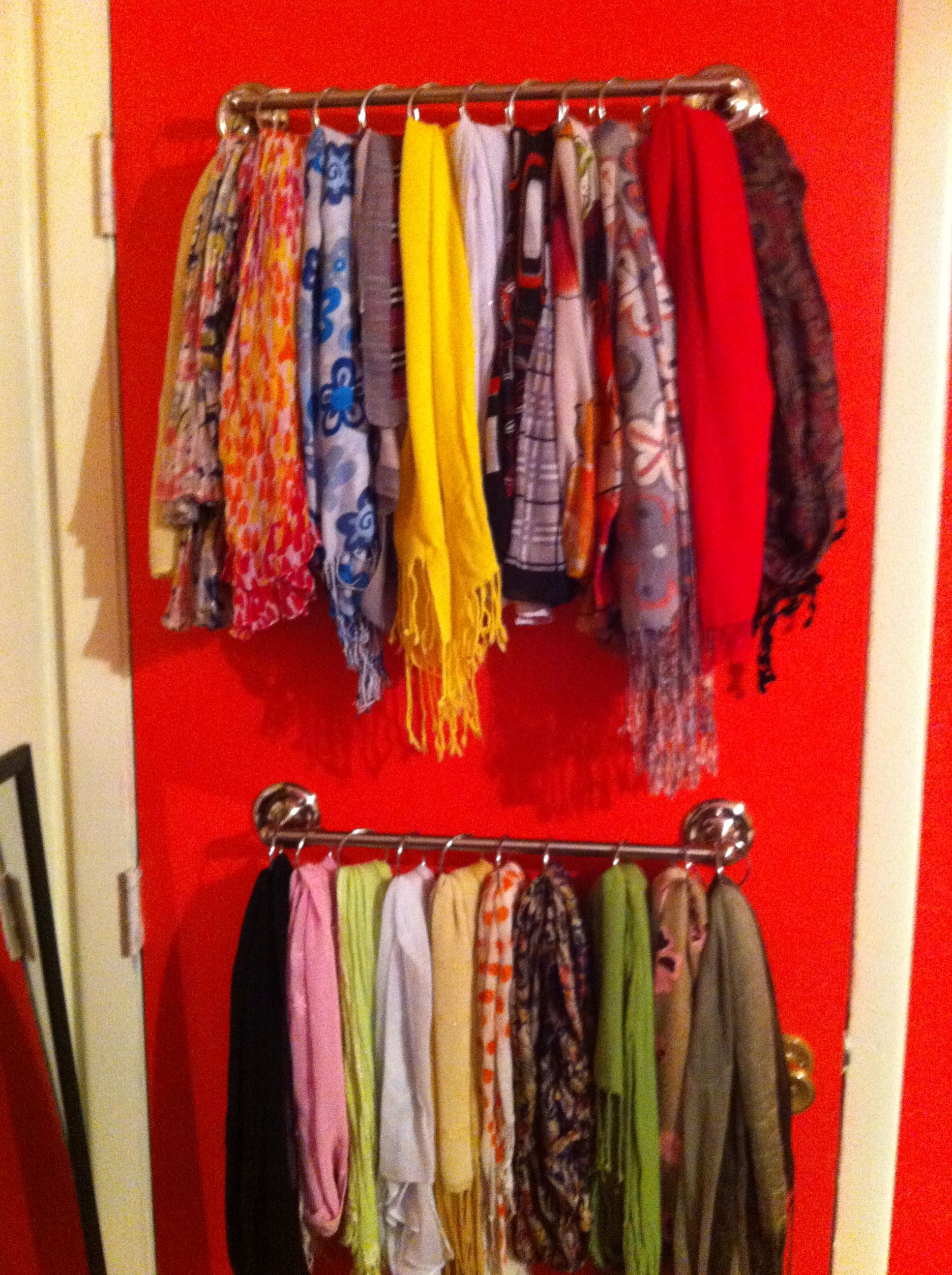 Scarf Organizer With A Towel Rack And Shower Rings
