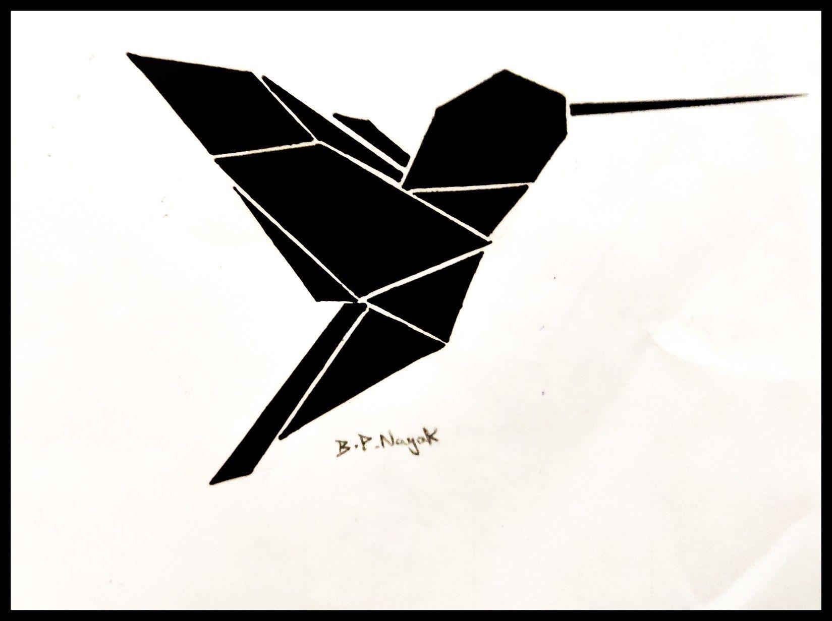 Origami geometric hummingbird