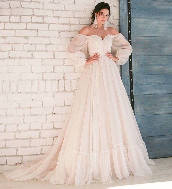 764879892ffb boho wedding dress simple long sleeves modern white blush pink belt ...