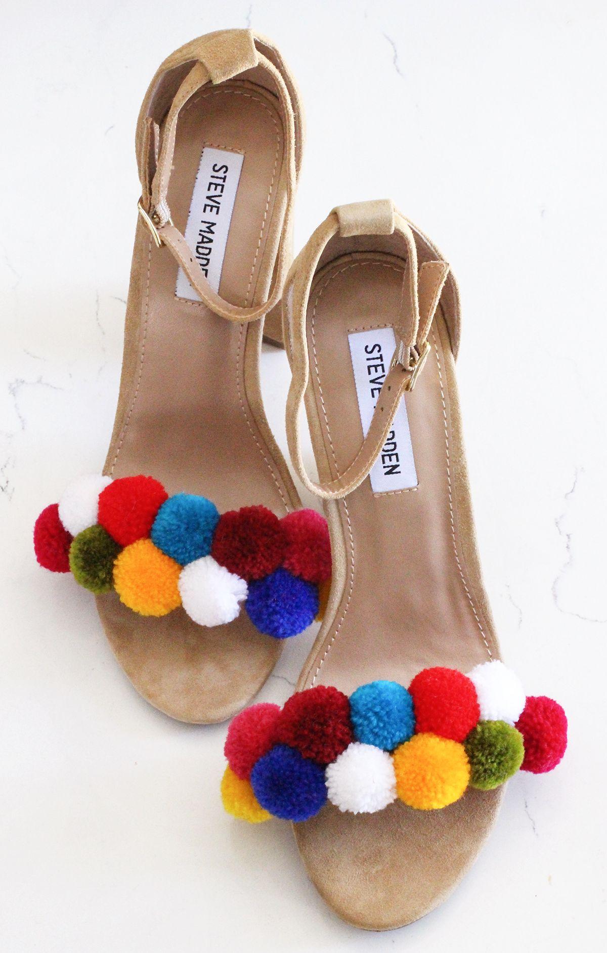 8dd130f50 DIY Pom Pom Shoes | DIY | Pom pom sandals, Shoes, Shoe boots