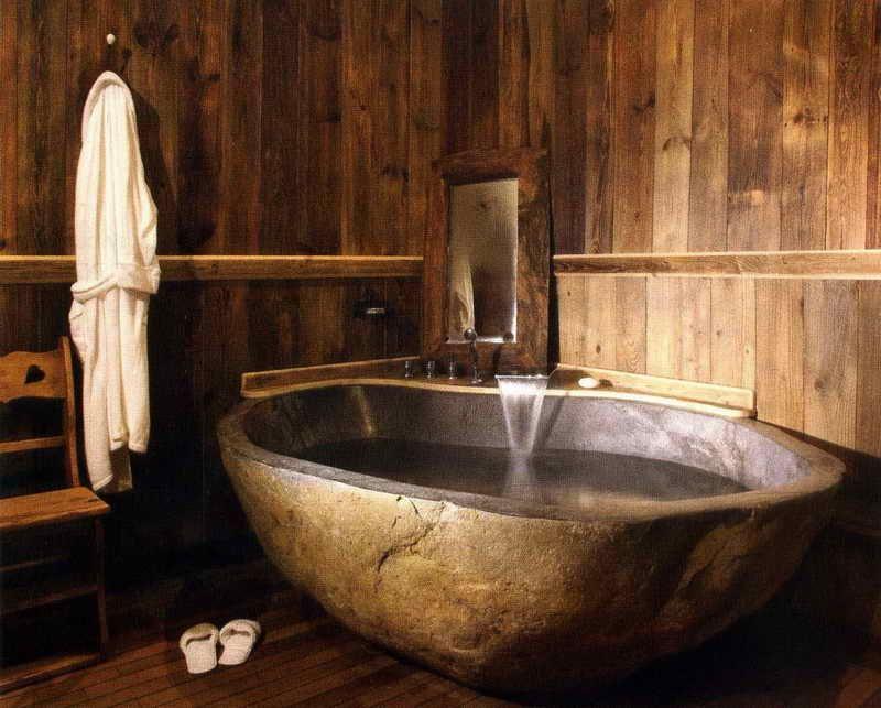 salle de bain rustique contemporaine et tendance pinterest baignoire en pierre baignoires. Black Bedroom Furniture Sets. Home Design Ideas