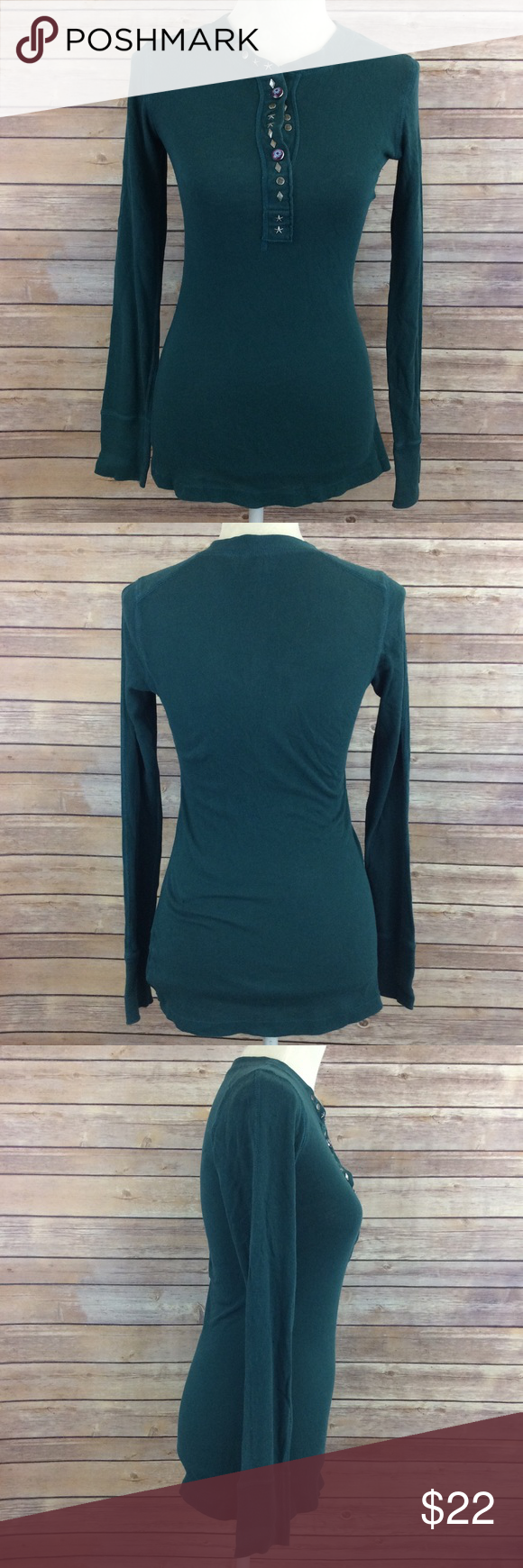 """Free People Green Button Long Sleeve Tee ⚜Bust: 16"""" ⚜Length: 27""""  🎀 Two Front Button Closure  🎀Condition: No Rips; No Stains  🎀100% Cotton  📦 I ship orders within 24 Hours! {Excluding Weekends}📦  🚫No Trades🚫No Holds🚫 Free People Tops Tees - Long Sleeve"""