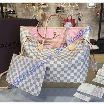 a6f68477839d Louis Vuitton Damier Azur Neverfull MM with Pink Lining N41605   Louisvuittonhandbags
