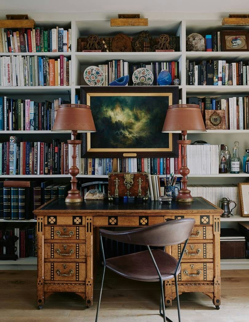 Desk In Front Of Full Wall Bookcase Home Home Decor Office Furniture Placement
