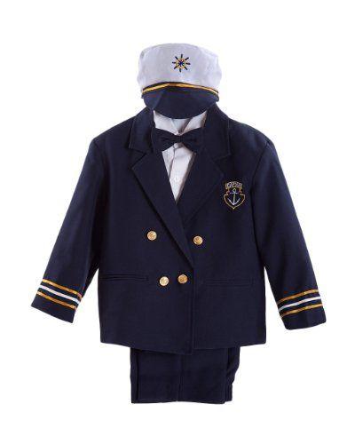 958f458f1d43 Navy Blue Baby Boy   Boys Captain Sailor Tuxedo Suit