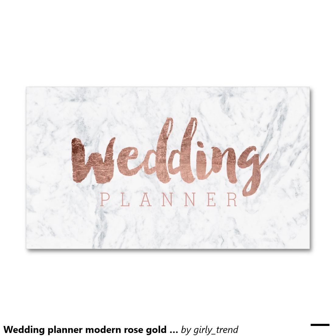 Wedding planner modern rose gold typography marble business card ...