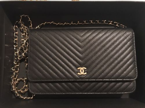 2033f8b774d4 Chanel Chevron Caviar WOC Wallet on Chain Black GOLD HW Clutch Rare Bag  CROSSBOD