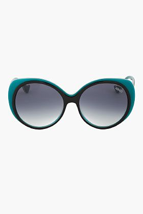 05ac212162 KENZO    OVERSIZE TEAL-TRIMMED ROUND SUNGLASSES Head to play2shop ...