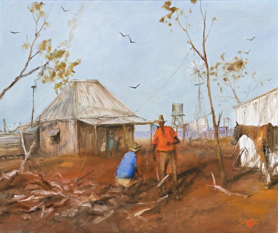 Hugh Sawrey (1932 – 1999) Yarning By The Wood-Heap
