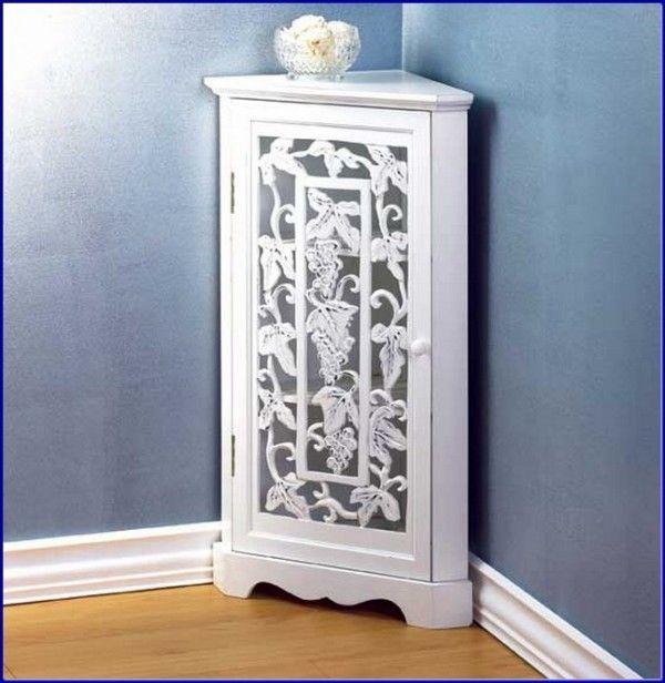 Corner Bath Cabinet Grapevine White Color