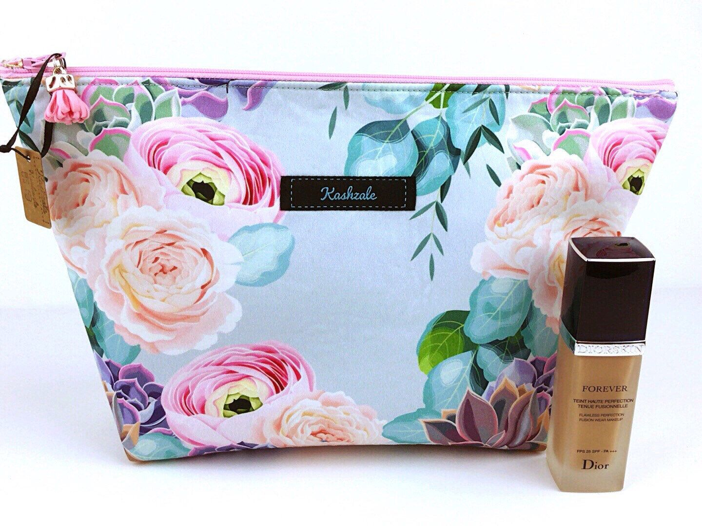 Pastel Floral Large Make Up Bag, Peonies and Succulents