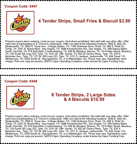 4 Tenders Fries Biscuit Just 4 More At Churchs Chicken Coupon Apps Restaurant Coupons Coupons