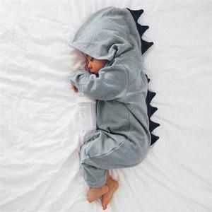 baby clothes #baby Unisex Dinosaur Hooded Romper Jumpsuit